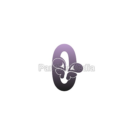 number zero with butterfly icon logo
