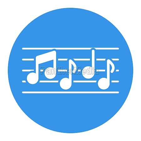 stave and music notes vector white