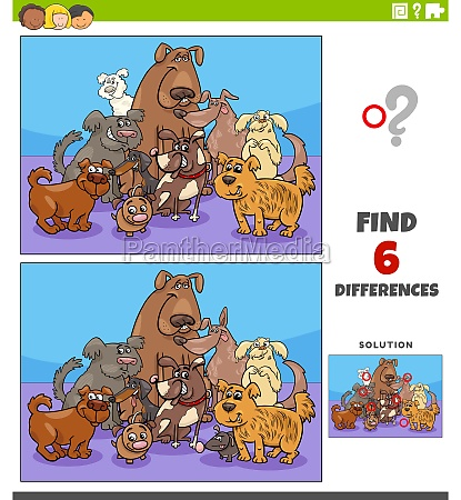 differences educational game with cartoon dogs