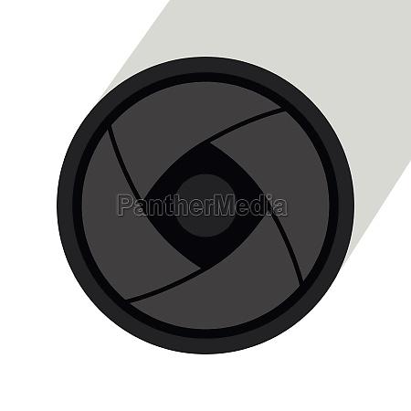 camera lens icon flat style