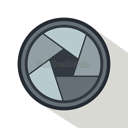 photo objective icon flat style