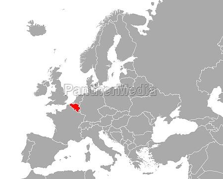 map of belgium in europe