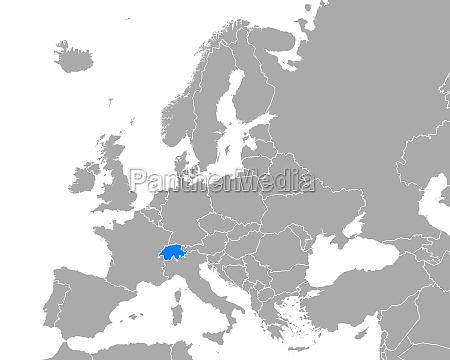 map of switzerland in europe