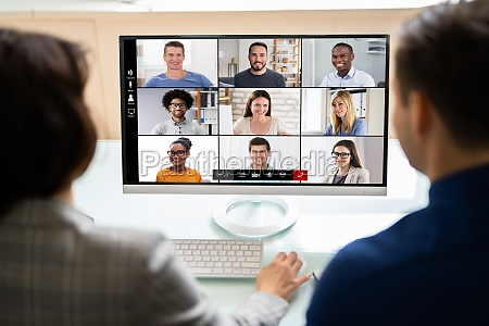 online video conference meeting on tablet