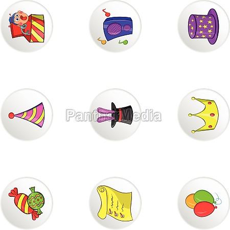 holiday birthday icons set cartoon style