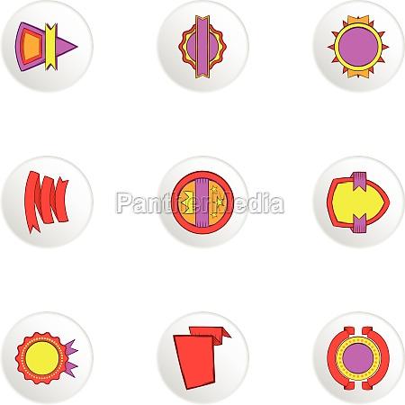 badge icons set cartoon style