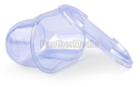 close up blue plastic transparent jar