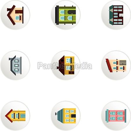 habitation icons set flat style