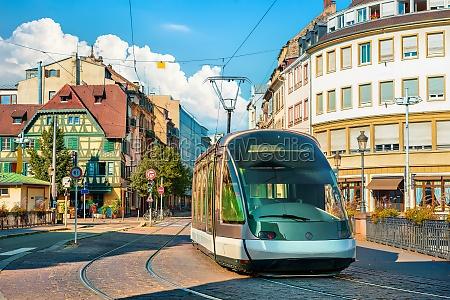 modern tram in strasbourg