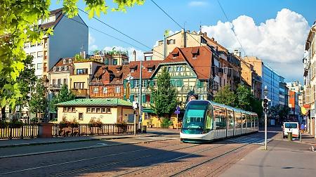 modern tram on street