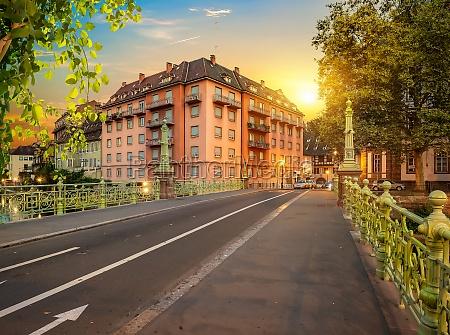 strasbourg bridge in evening
