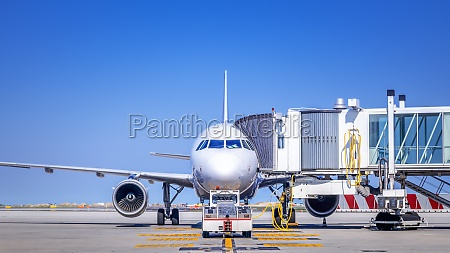 modern airliner is ready for taxiing