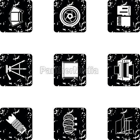 photo icons set grunge style
