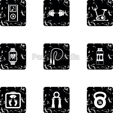 sport icons set grunge style