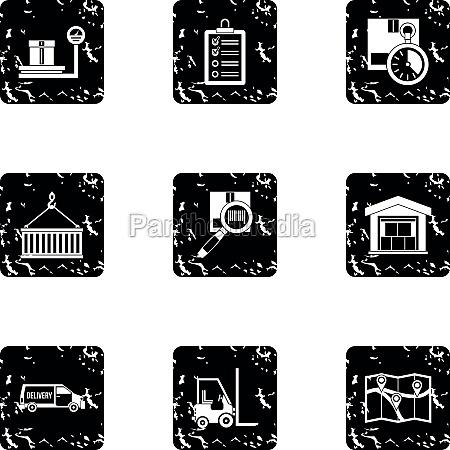 cargo packing icons set grunge style