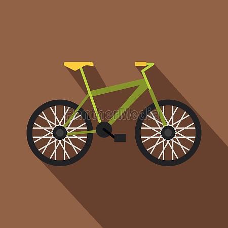 green bike icon flat style