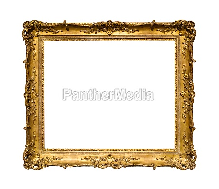 old ornamental golden picture frame isolated