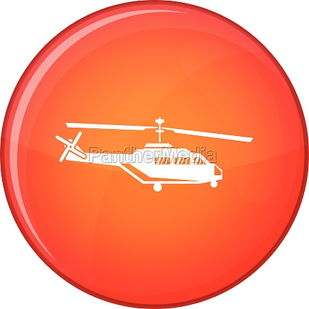 military helicopter icon flat style