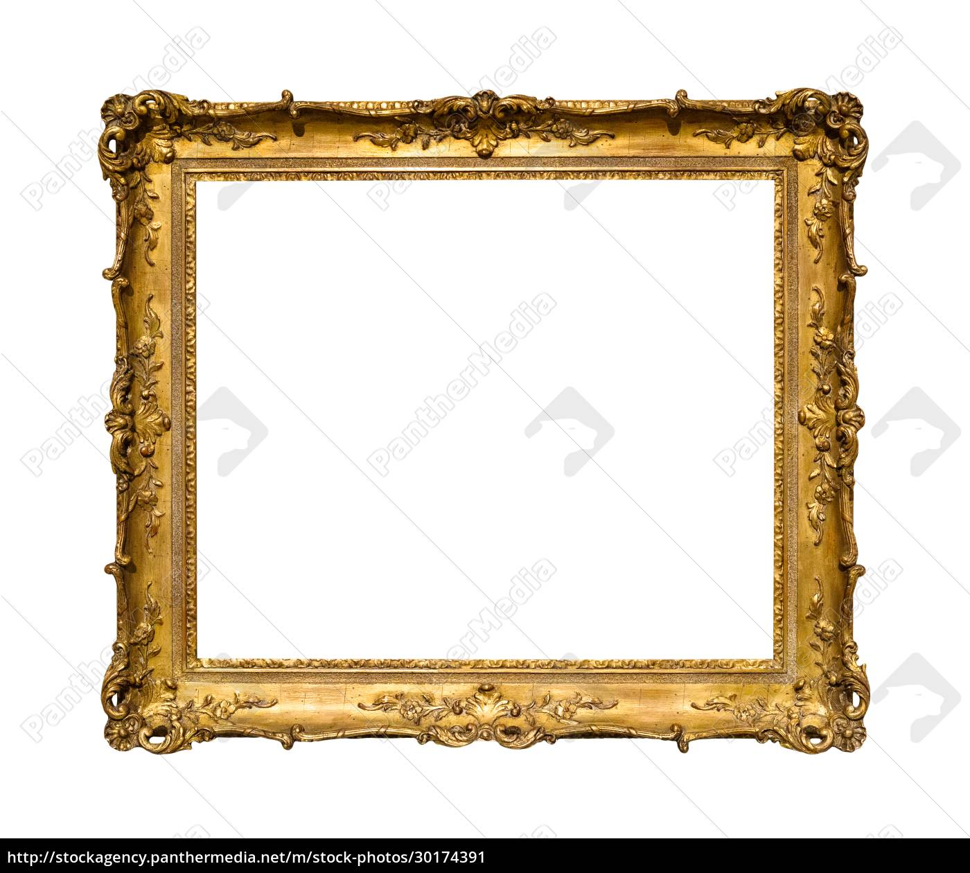 old, ornamental, golden, picture, frame, isolated - 30174391