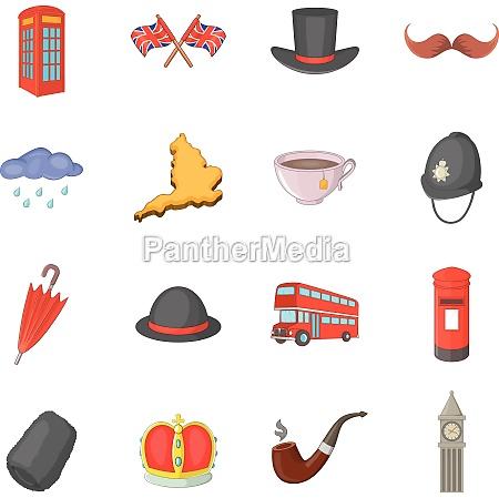 united kingdom travel icons set cartoon