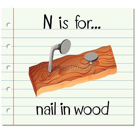 flashcard alphabet n is for nail
