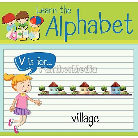 flashcard letter v is for village
