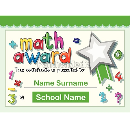 certificate template for math award