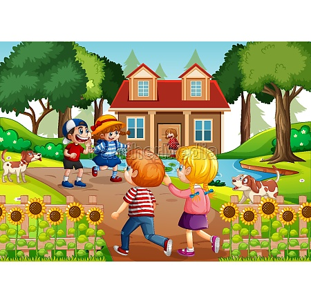 outdoor scene with many children visiting