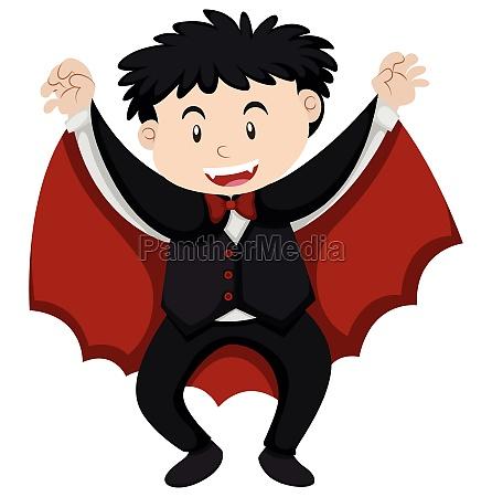 boy dressed up as vampire