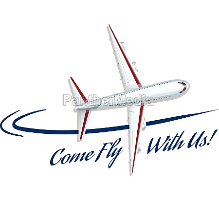airplane flying and advertisement phrase