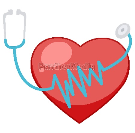 big red heart with stethoscope in