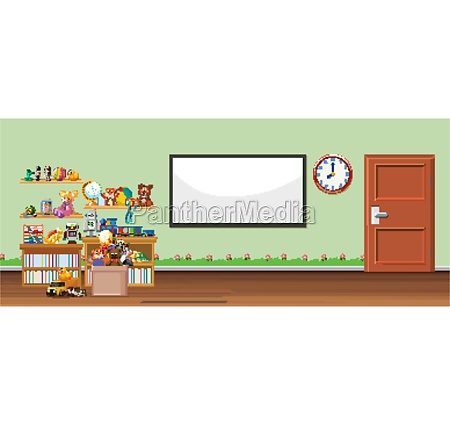 background scene with whiteboard and toys