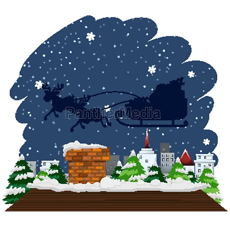 christmas theme with sleigh flying over