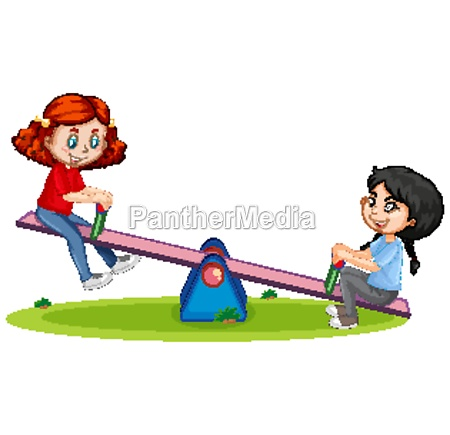 cartoon character girls playing seesaw on