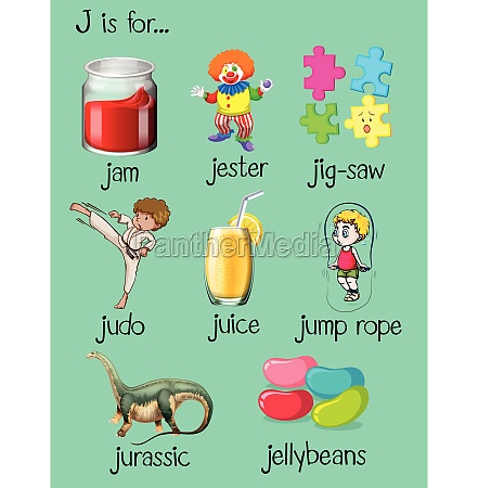 different words begin with letter j