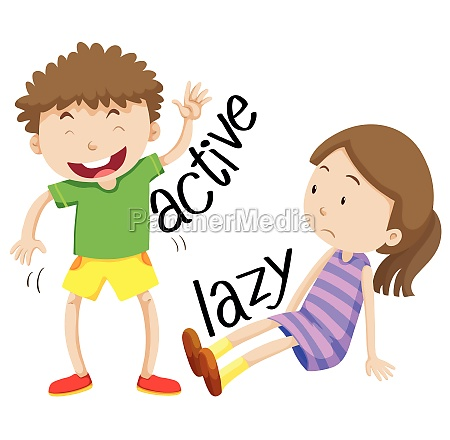 active boy and lazy girl