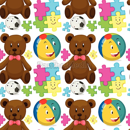 seamless background with teddybear and ball