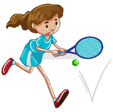 athlete playing tennis on white background