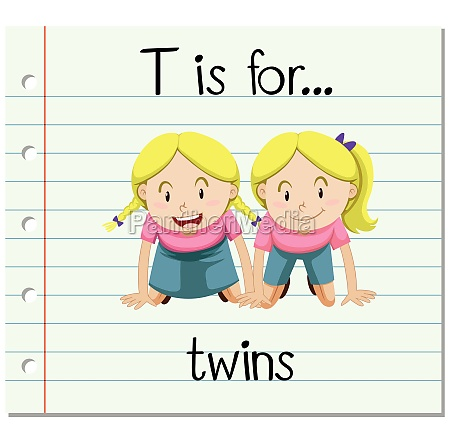 flashcard letter t is for twins