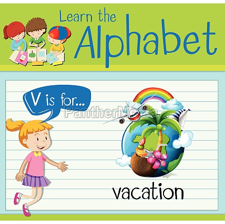 flashcard letter v is for vacation