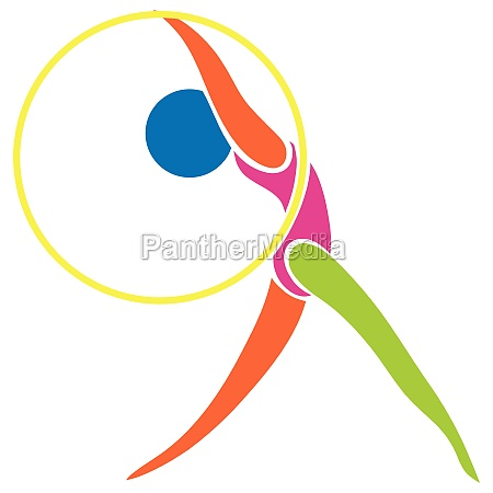 sport icon for gymnastics with hoop