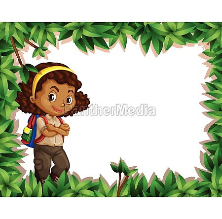 a girl scout on nature border