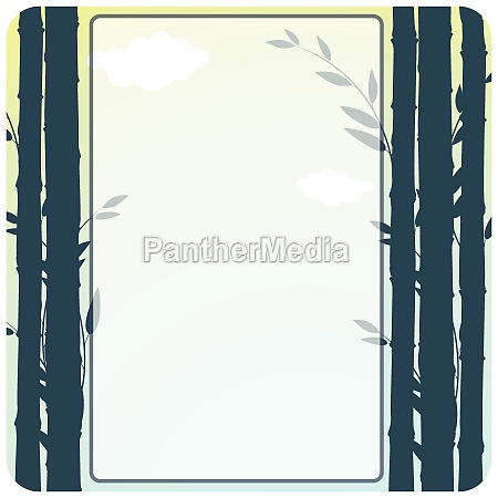 border design with bamboo shoots