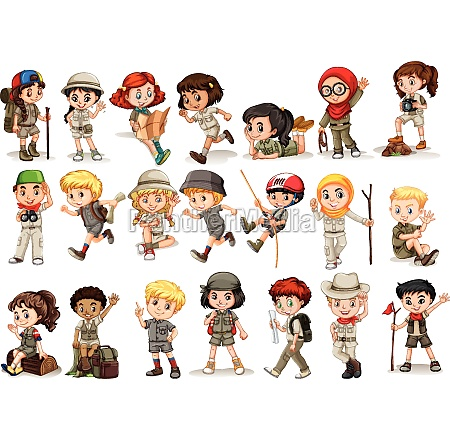 girls and boys in camping costume