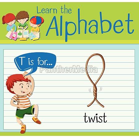 flashcard letter t is twist