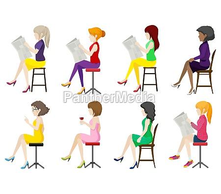 eight faceless ladies sitting down
