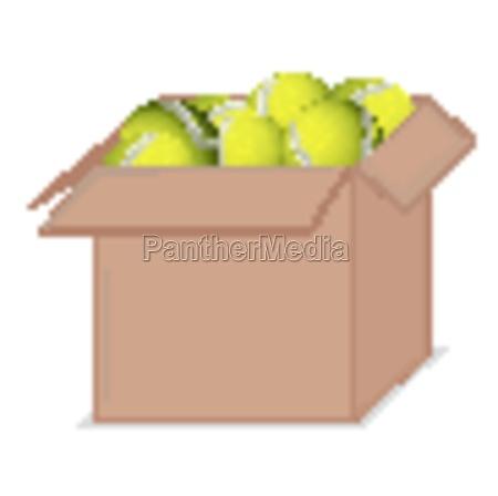 box full of tennis balls on