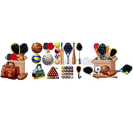 large set of sport equipments on