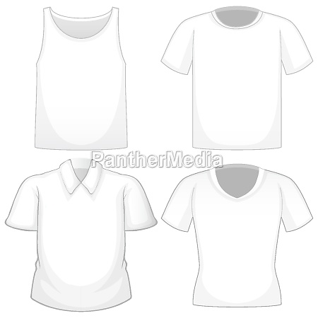set of different white shirts isolated