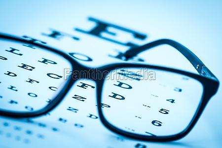 modern reading glasses on a eye